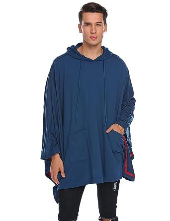 Poncho Cape Herren Asymmetrisch Loose Mode Kapuzenpullover Hoodie Sweatshirt 2acc318b05