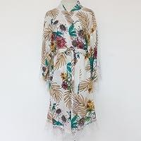 Traje de kimono de mujer floral blanco (con adornos de encaje) -Ropa de kimono de dama de honor-Regalo de boda de dama…