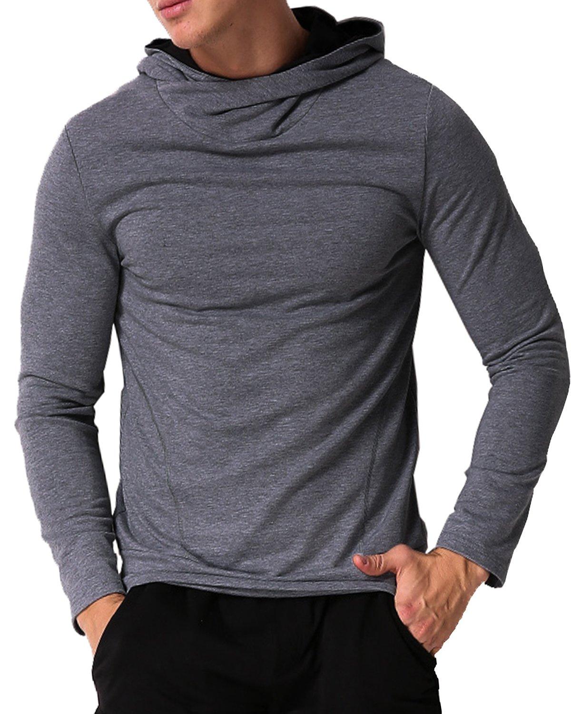 MODCHOK Men's Long Sleeve Hooded T Shirts Cotton Tee Tops Hoodies Sweatshirts Dark Grey XL
