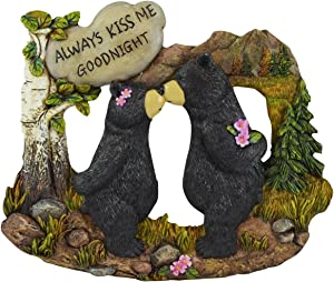 Pine Ridge Couple Black Bear with White Stone Inscribed Always Kiss me Goodnight Home Decor Figurines - Wildlife Country Kissing Bear Lodge Decorations