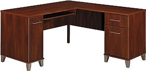 Bush Furniture WC81730 L Shaped Desk with Storage, 60W, Hansen Cherry