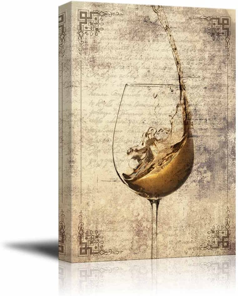 wall26 - Canvas Wall Art - Wine Splash in Glass on Vintage Letter Background - Gallery Wrap Modern Home Art | Ready to Hang - 16x24 inches