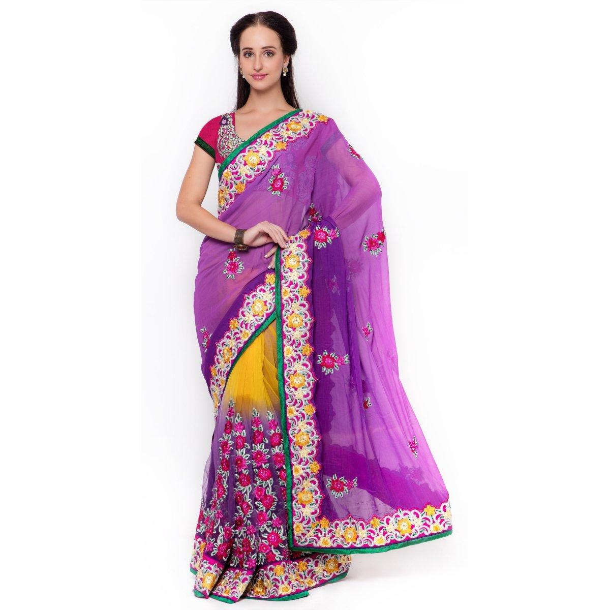 Triveni Women's Indian Purple Synthetic Embroidered Saree , Sari
