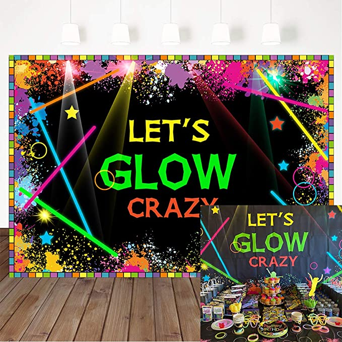 Let/'s Glow Crazy Painting Birthday Glow Party Plates Glow Pong Glowing Party Glow Painting Party Glow in the Dark Party Supplies