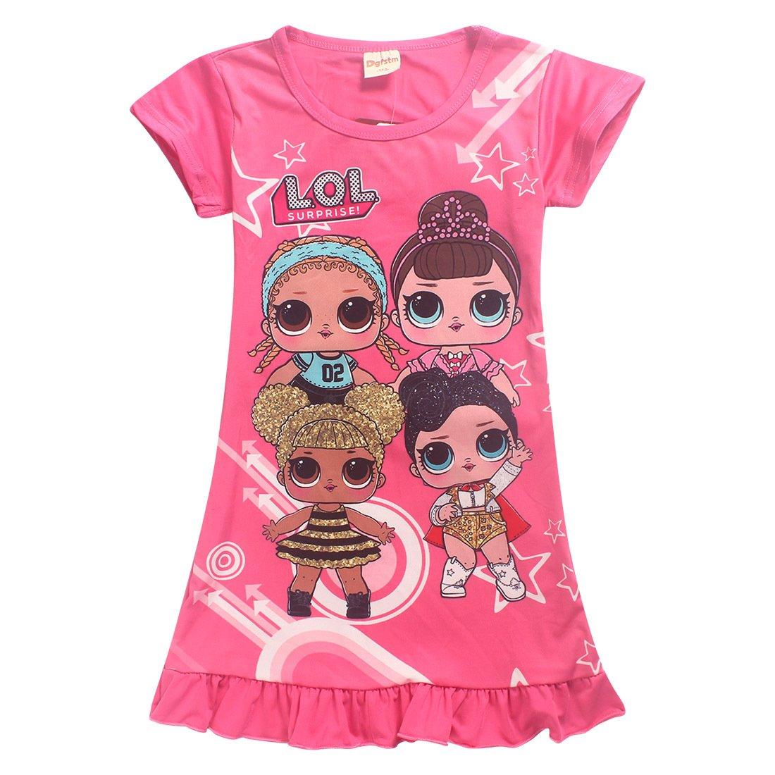 DGFSTM Comfy Loose Fit Pajamas Girls Printed Princess Dress Sleepwear Nightgown Short sleeve