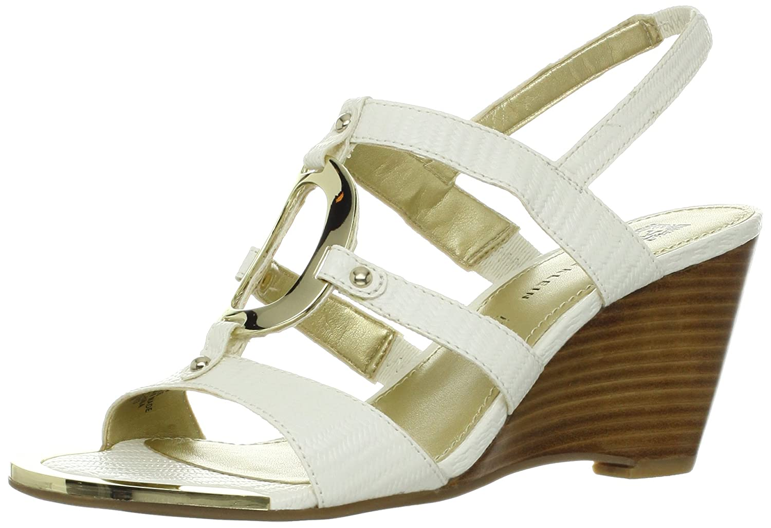 Anne Klein AK Women's Pylon Synthetic Wedge Sandal B00AHY6PT4 10 B(M) US|White