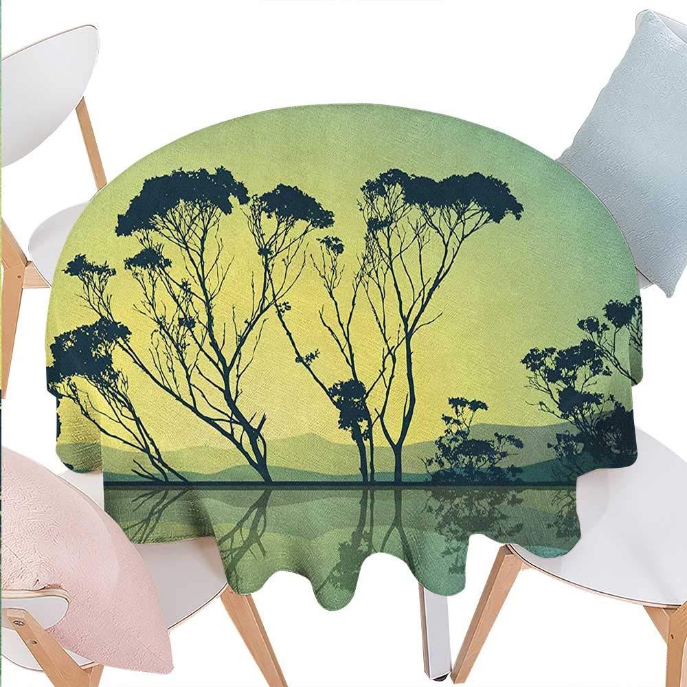 ツリーダイニング テーブルトップデコレーション オールドオーク サンセット ホライゾンゴールデンサンレイズ カントリーサイド 田舎の自然 写真プリント キッチン用テーブルカバー 36インチx36インチ オレンジブラウン D50