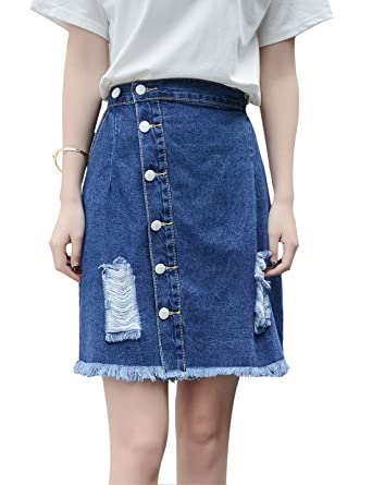 c9032e02eb Yeokou Women's Distressed Buttoned Denim Mini Skirt Detachable Suspender  Skirt (X-Small, Blue