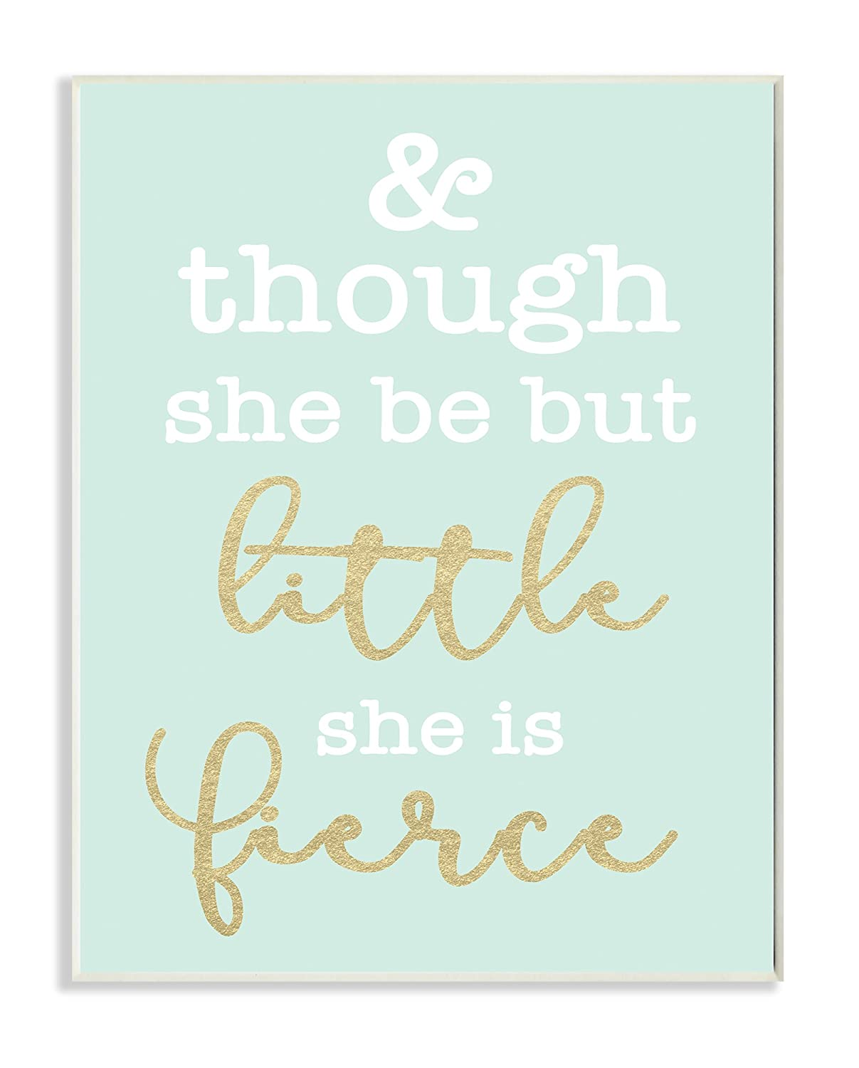 Stupell Home Décor Little and Fierce Teal and Gold Wall Plaque Art, 10 x 0.5 x 15, Proudly Made in USA Stupell Industries brp-1903_wd_10x15