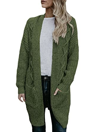 3171d0de7b5001 HOTAPEI Women's Oversized Loose Open Front Long Cable Knit Weave Cardigan  Sweaters with Pockets at Amazon Women's Clothing store: