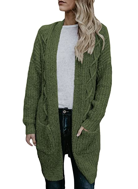 9d8ce7041 HOTAPEI Women u0027s Oversized Loose Open Front Long Cable Knit Weave Cardigan  Sweaters with Pockets at Amazon Women u0027s Clothing store ...