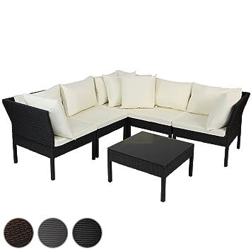 Miadomodo - Juego de Mesa y sillones de poliratán - Color Negro