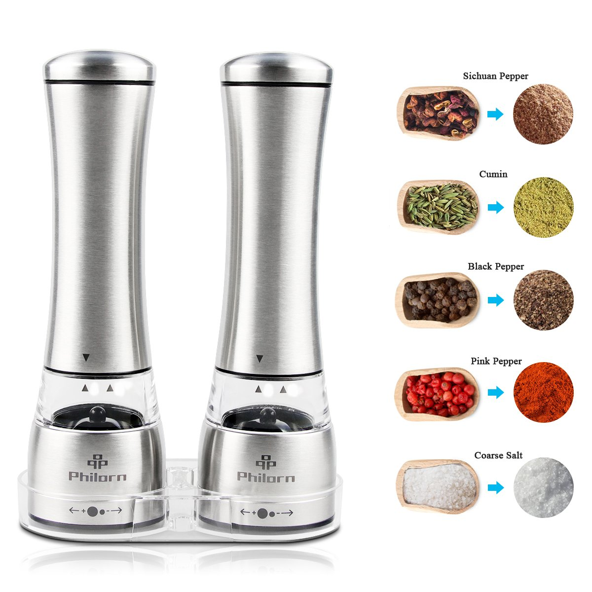 Salt and Pepper Shaker Set of 2, Philorn Mannual Stainless Steel Pepper Mills and Salt Mills, Grinders with Adjustable Coarseness, Ceramic Rotor Grinder with Acrylic Tray