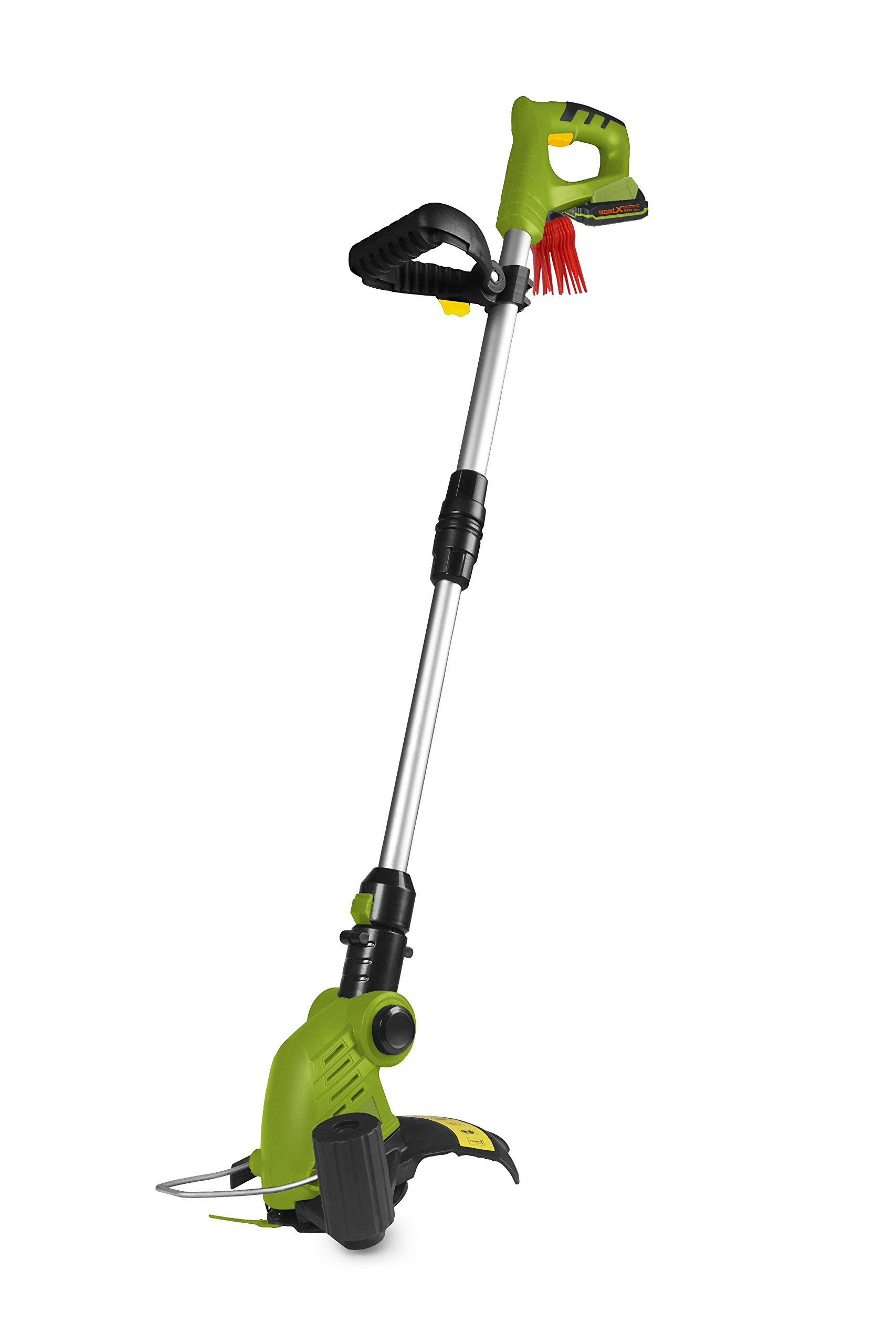 SmartEco 20V Lithium Ion 2 in 1 Cordless Telescoping Blade Grass Trimmer Edger with 1x 2Ah Battery & 1 Hour Fast Charger (12pcs of Replacement Blades Included)