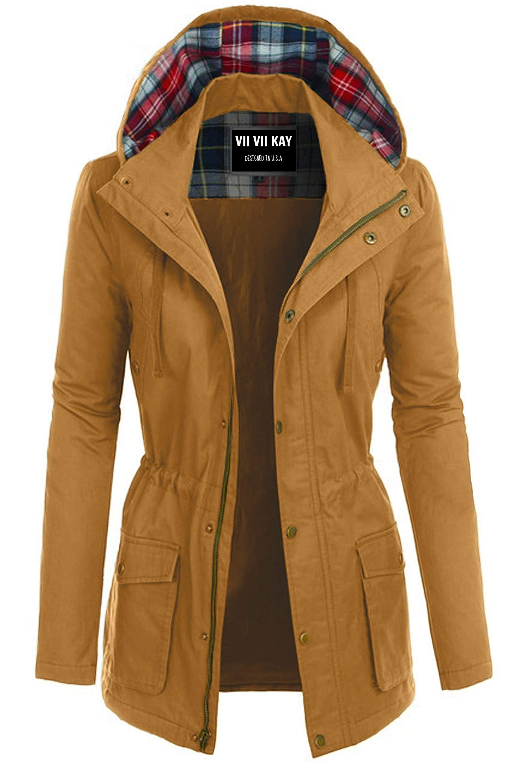 ViiViiKay Womens Cotton Anorak Lightweight Utility Parka Jackets with Drawstring 552_ Mustard 2X