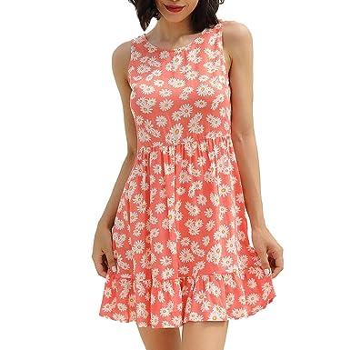 Vestido de Verano con diseño de Lunares Rojos y Falda de Corte ...