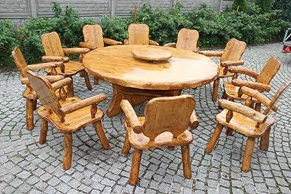 Luxus Pur UG Mesa de jardín con Plato Giratorio Abeto para ...