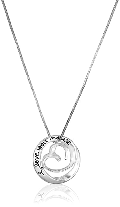 Amazon sterling silver heart in circle i love you more pendant sterling silver heart in circle i love you more pendant necklace 18quot aloadofball Choice Image
