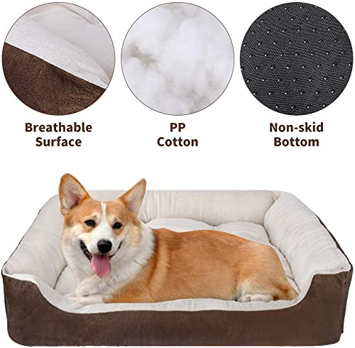 Lukovee Washable Dog Bed, Rectangle Pet Bed Cozy Calming Lounger Sleeper Couch Sofa Durable Breathable Cotton Cushion for Small Medium Dog with Non-Slip Bottom Puppy Bed