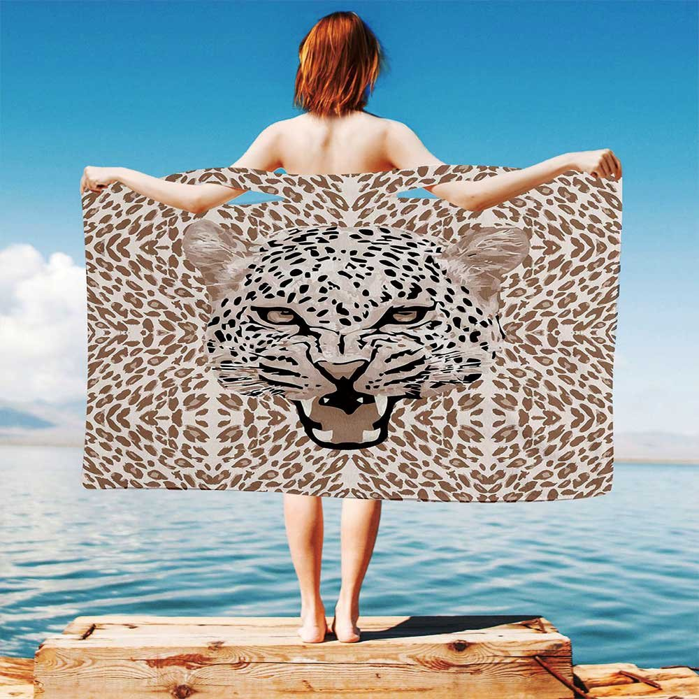 iPrint Modern Quick Dry Plush Microfiber (Towel+Square scarf+Bath towel) Roaring-Leopard-Portrait-with-Rosettes-Wild-African-Animal-Big-Cat-Graphic And Adapt to any place