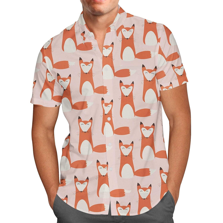 Cute Fox Mens Button Down Short Sleeve Shirt Foxy