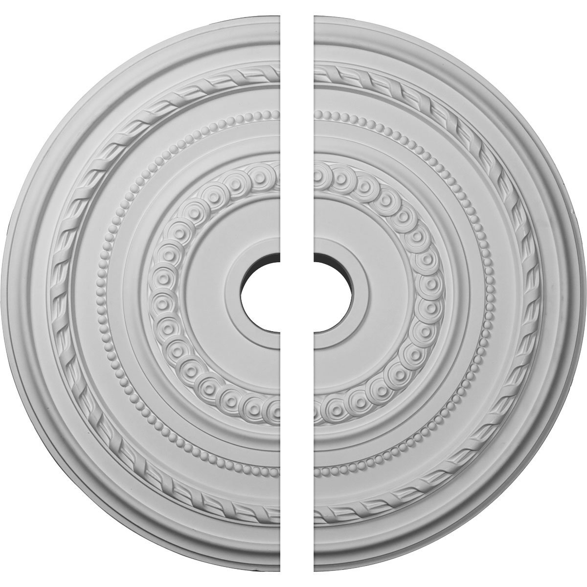 Ekena Millwork CM25CO2 25 OD x 3 ID x 1 3/8'' P Cole Ceiling Medallion, Two Piece (Fits Canopies up to 9 1/8''), Factory Primed White