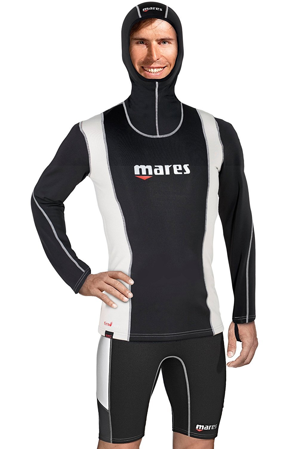 Mares Men's Fire Skin Long Sleeve Hooded Vest Watersport Protection Gear, Small