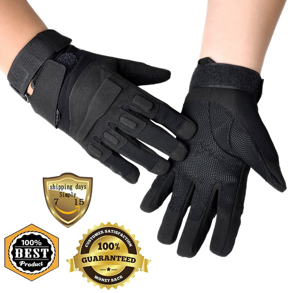 Meanhoo Winter Gloves Non-Slip Gel Pad Gloves Men's Women's Sportswear Bicycle Riding Short Gloves for Skiing Full Finger Gloves - Black (1Pair)