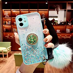 HPHRE Glitter Ring Kickstand Case Compatible for iPhone XR - Phone Case with Bling Sparkle Diamond Rhinestone Stand Holder and Furry Fur Ball Wrist Strap for Girls Women (Blue Pom Pom)
