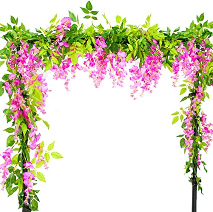 Vidillo Flores Artificiales Plantas 3 Piezas 200cm Wisteria ...