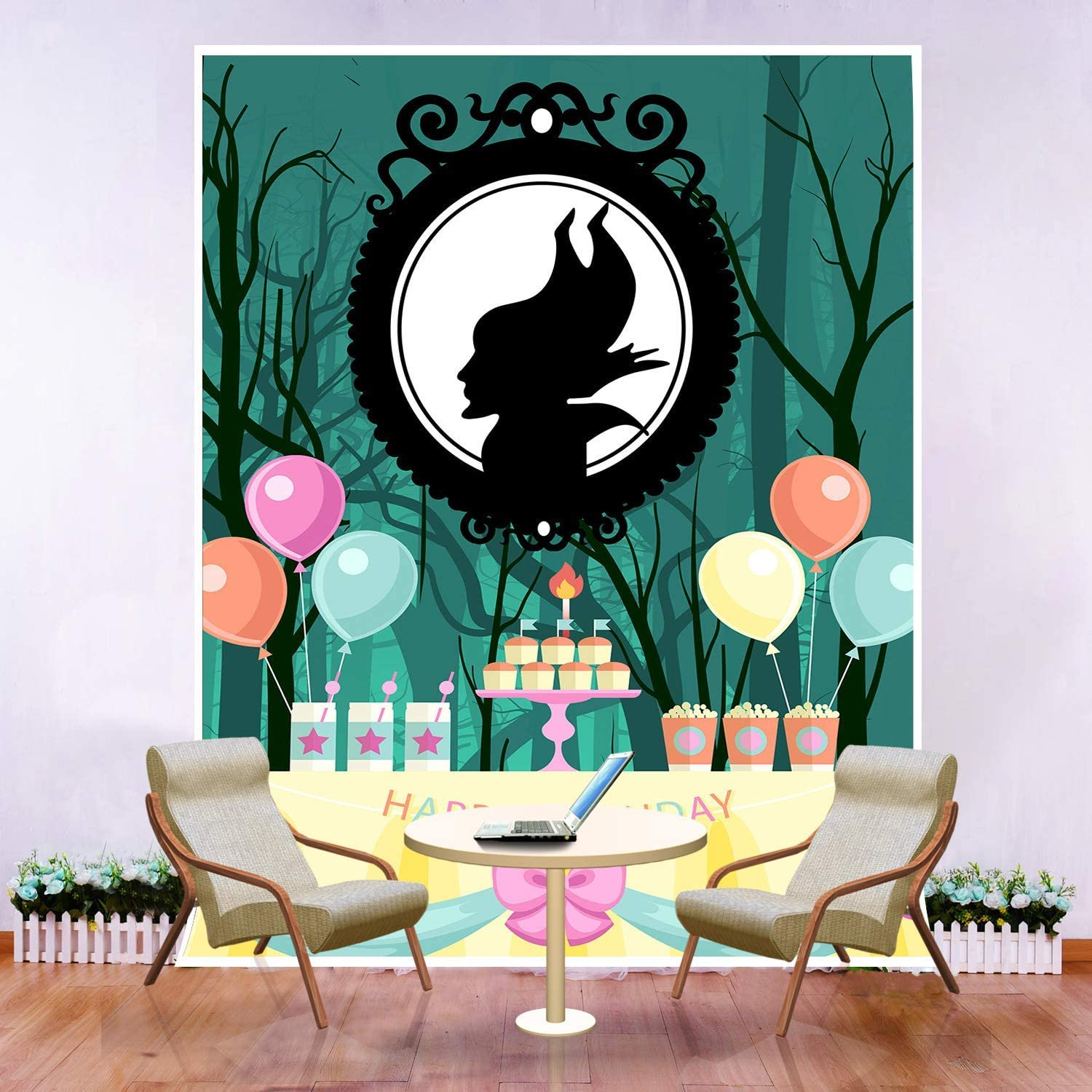 10x8ft Children Maleficent Theme Birthday Backdrop Photography Cake Table Decor Background Photo Props WQFU083