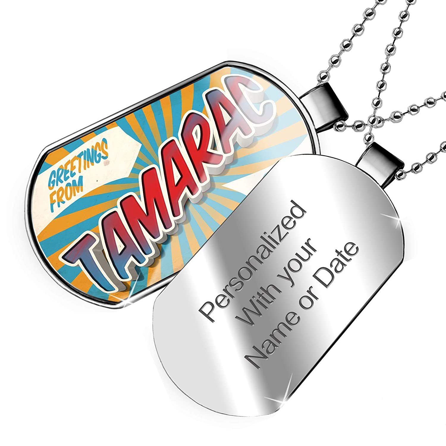 NEONBLOND Personalized Name Engraved Greetings from Tamarac Vintage Postcard Dogtag Necklace