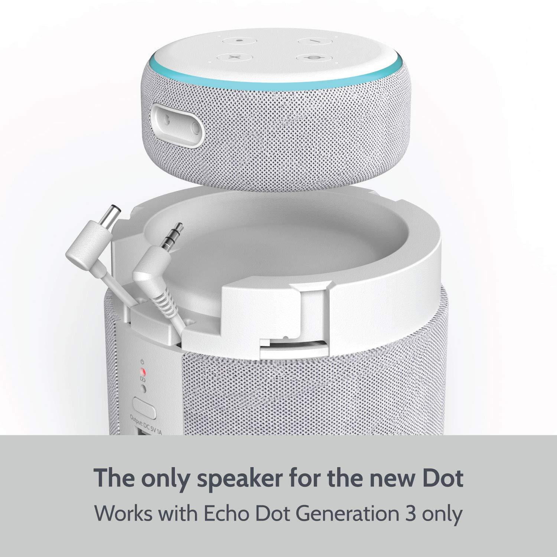 Base Port/átil y Altavoz para Echo Dot 3/ª generaci/ón Gris Claro Release