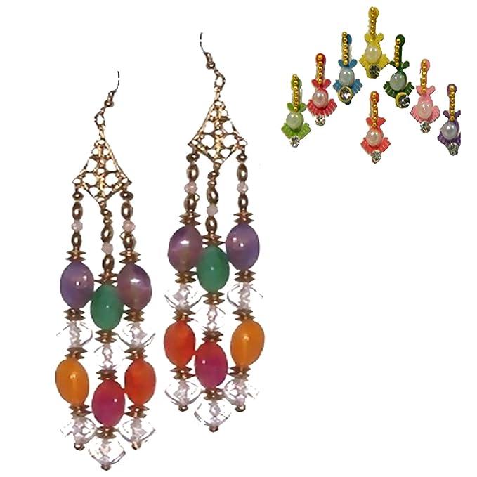 Internationale Trachten Süd- & Zentralasien Sari Pink Goldbrokat Bindi Ohrhänger Kleidung Indien Tracht