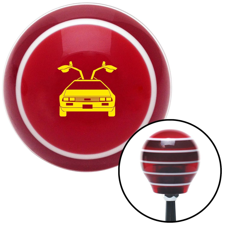 Yellow Delorean Red Stripe with M16 x 1.5 Insert American Shifter 274066 Shift Knob