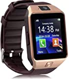 deputine DZ09 Bluetooth Smart Watch with Touch Screen/Compatible with All 3G, 4G Phone Camera and Sim Card Support - Black and Gold