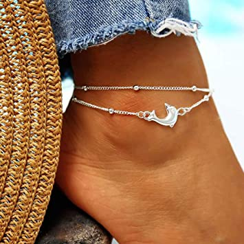 6f6488388 Amazon.com  Evazen Boho Dolphin Anklet Chain Silver Beach Beaded ...
