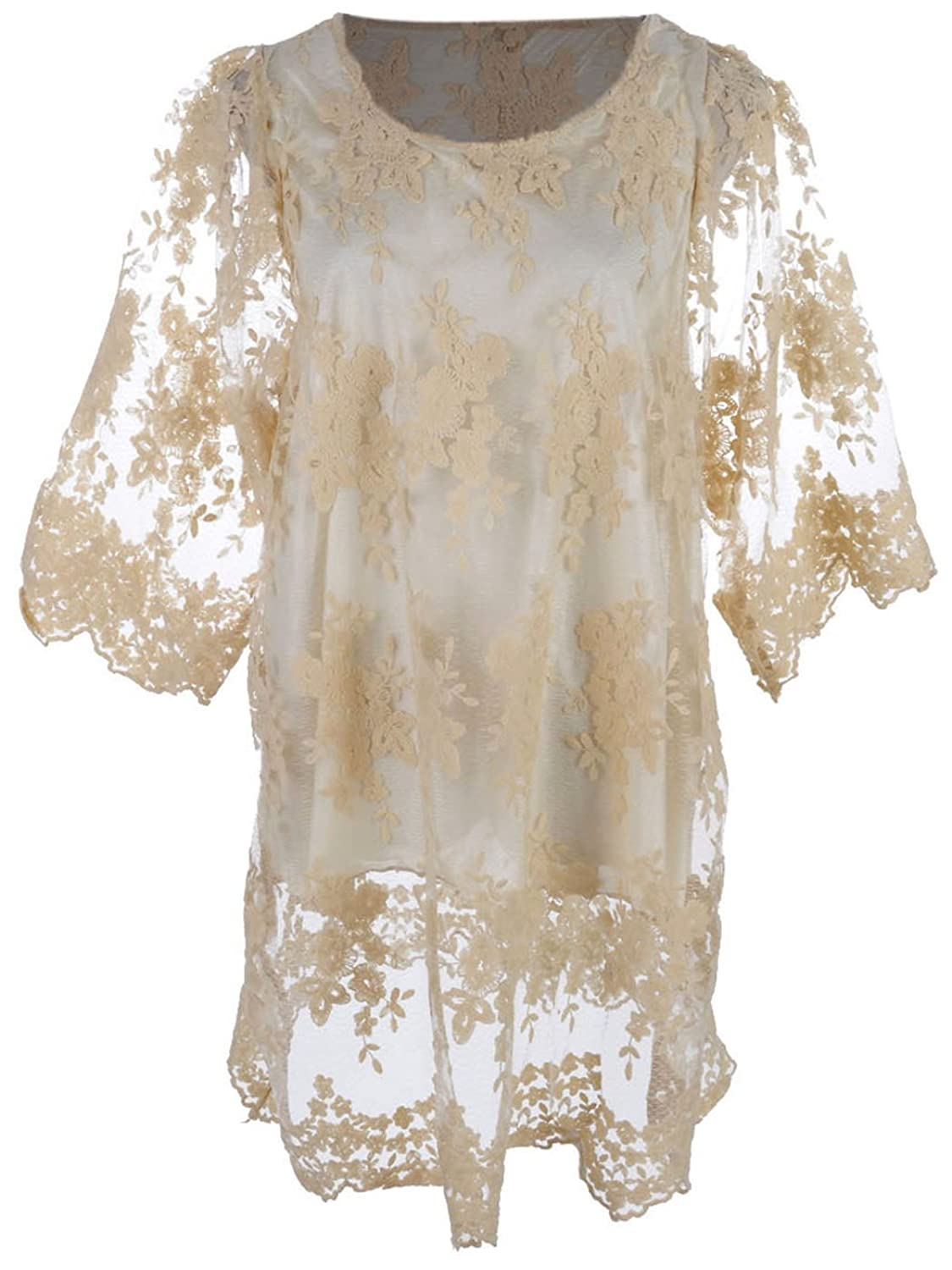 Anna-Kaci S/M Fit Beige Three Quarter Sleeves Antique Inspired Floral Lace Dress