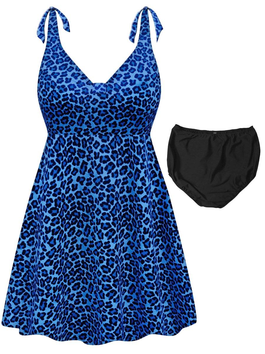 Sanctuarie Designs Blue Leopard Print 2-PC Straps Style Plus Size Swimdress 4X