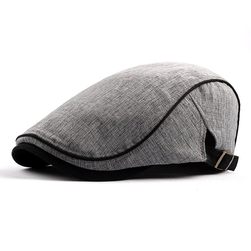 Anshili Uomo Cotone Cappello Flat Cap Beret Primavera (Grigio 2)