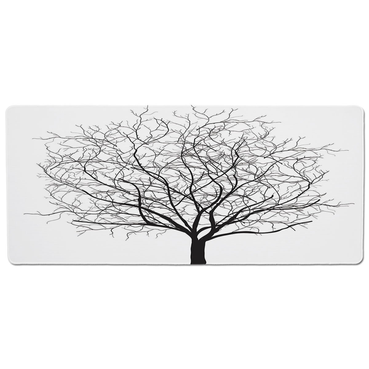 35.4\ iPrint Pet Mat for Food and Water,Apartment Decor,an Old Withered Oak Crown Without Leaves Tree Branches Illustration,Black and White,Rectangle Non-Slip Rubber Mat for Dogs and Cats