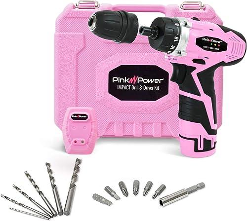 Pink Power PP121ID 12V Cordless Impact Drill Driver Tool Kit
