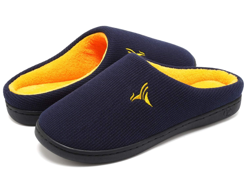 VIFUUR Men's Indoor Memory Foam Slippers Plush Lining Anti-Skid House Shoes VIFUUR-9907MSlp