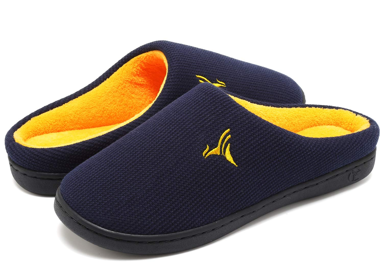 VIFUUR Men's Memory Foam Slippers Plush Lining Anti-Skid House Shoes Indoor Navy/Maize-46