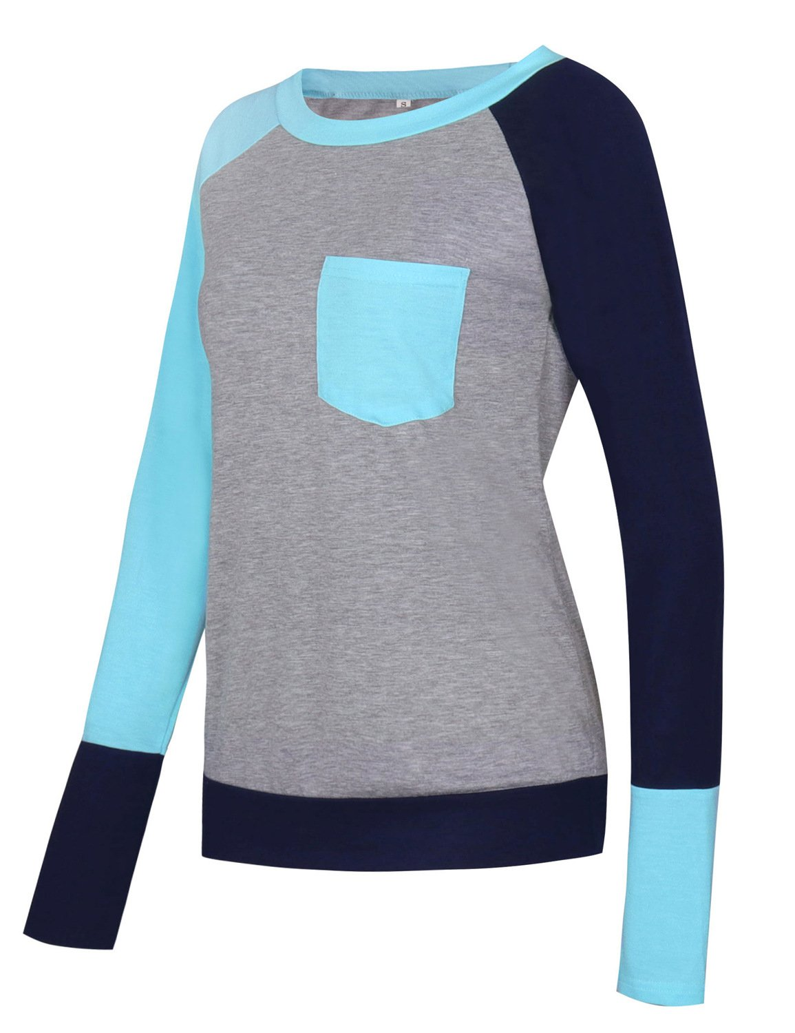 Naier Women T Shirt Top Long Sleeve Color Splicing For Leggings Jeans (L, Light Blue) by Naier (Image #4)