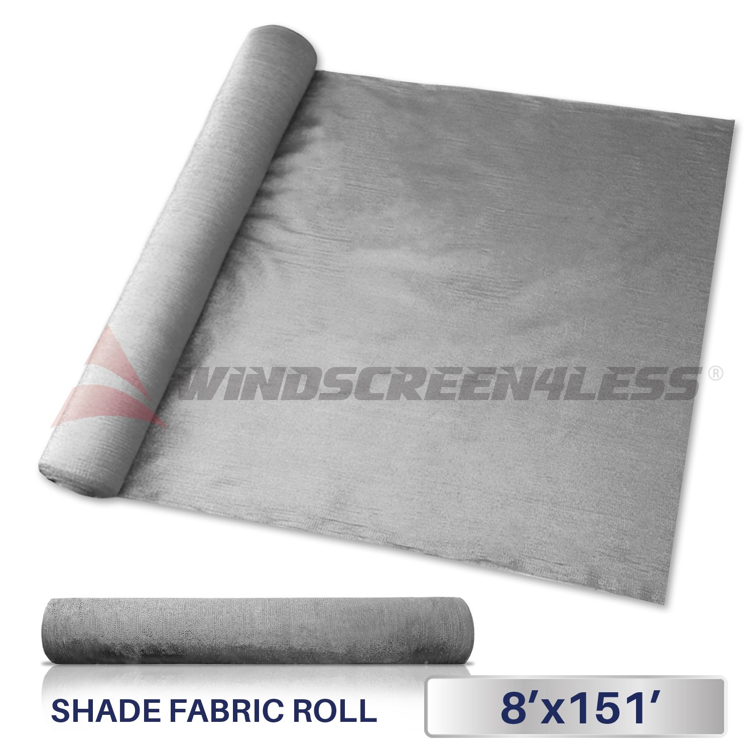 Windscreen4less Light Grey Sunblock Shade Cloth,95% UV Block Shade Fabric Roll 8ft x 151ft by Windscreen4less