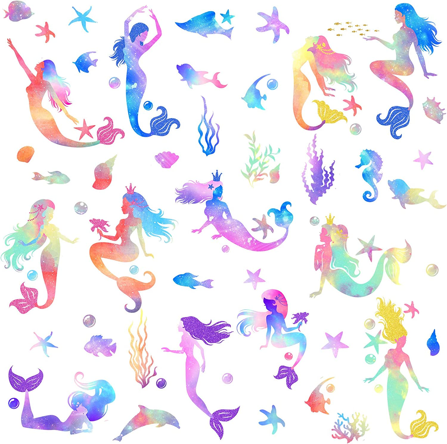 Outus 4 Sheets Mermaid Wall Decals Mermaid Wall Stickers Colorful Gouache Mermaid Decal for Girls Kids Bedroom Nursery Classroom Birthday Party Peel and Stick Wall Decals