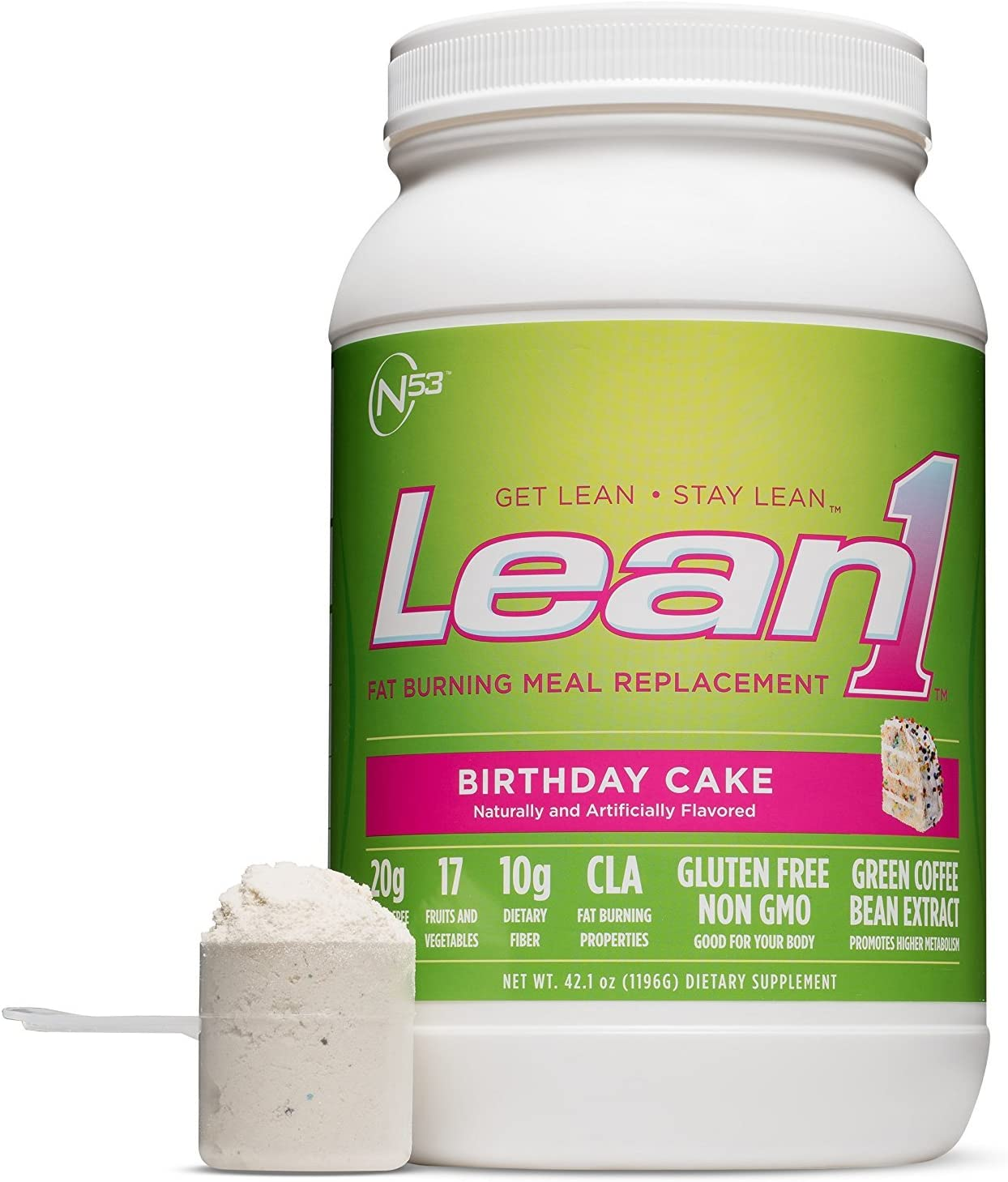 Lean 1 Birthday Cake Protein Powder Meal Replacement Shakes By Nutrition 53, Lactose Gluten Free with Green Coffee Bean Extract, 23 Serving Tub – 42 oz