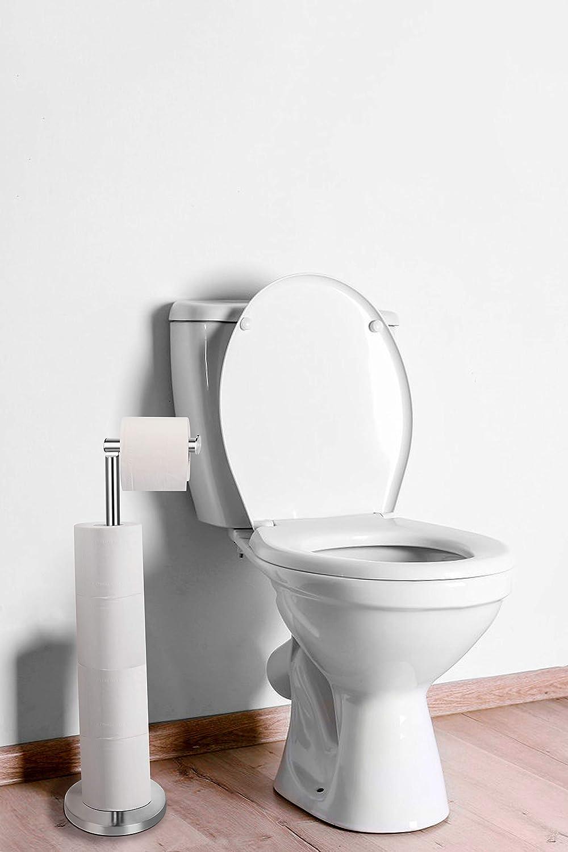 Cepillado Porta carta igienica in piedi esclusivo realizzato in acciaio inossidabile Porta carta da bagno igienica rotolo WC Ambrosya/® Acero inoxidable