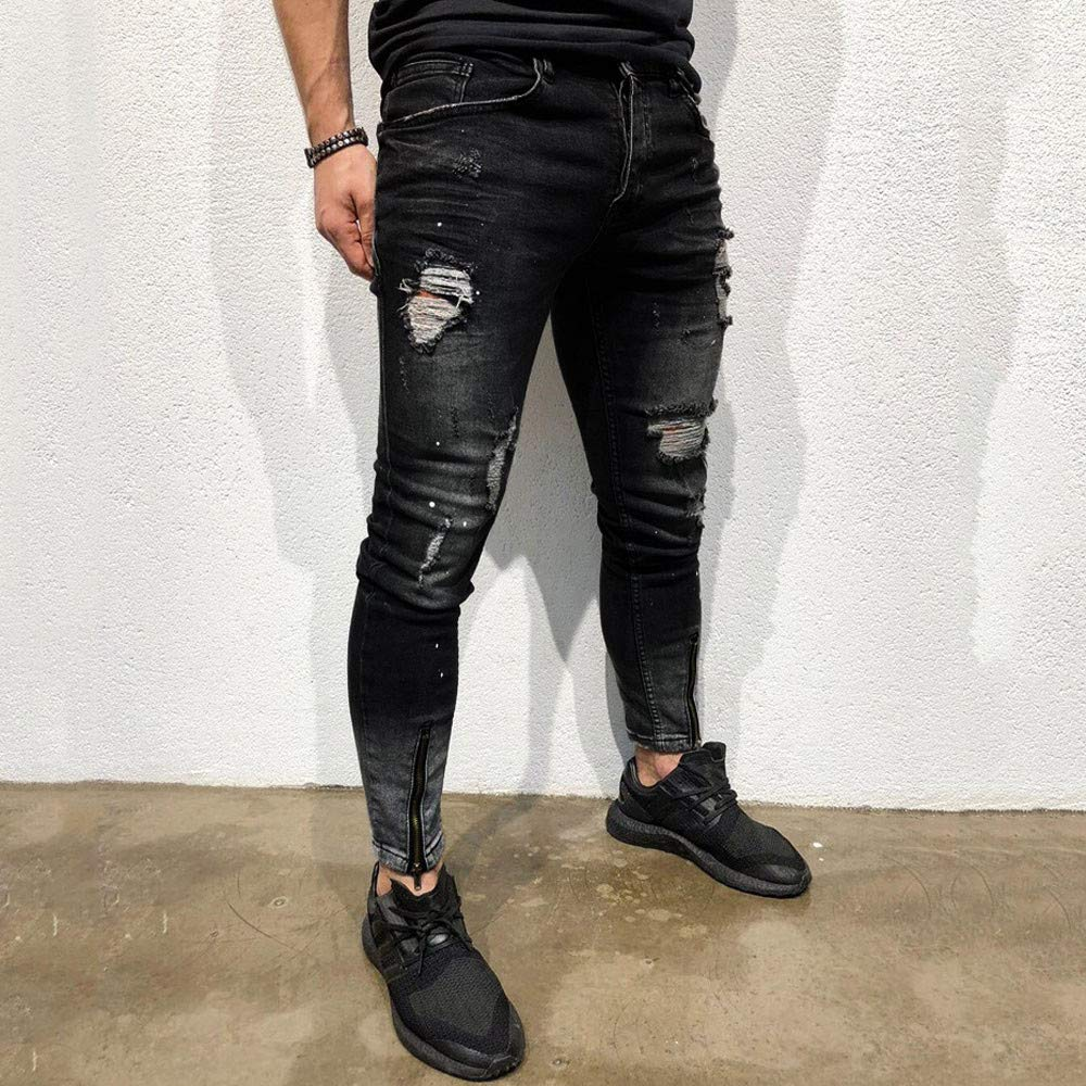 Cinhent Pants Mens Skinny Autumn Stretch Denim Zipper Ripped Stretch New Trouser by Cinhent Pants (Image #5)